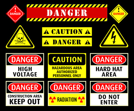 typical: Set of typical danger and caution warning symbols