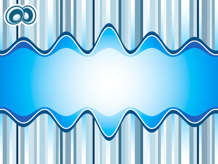 Sound waves over stripes background in blue Vector