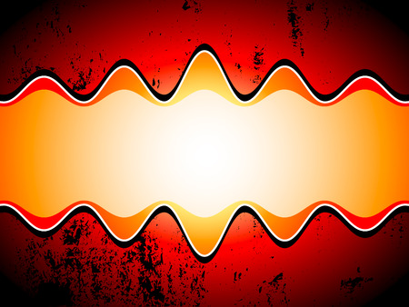 grungy background: Sound waves over grungy background in red