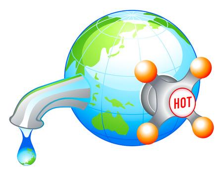 Global warming water warning concept illustration Vector