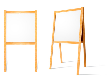 Front and turned view of blank wooden easels. Black board is available inside . Stock Vector - 4174252