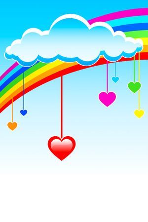 Colorful hearts under rainbow cloud Vector