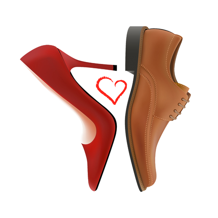 oxford: Photo-realistic vector pump and oxford shoes with the heart between