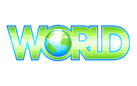 Glossy WORLD letters with globe inside Vector