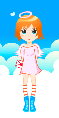 Little shy angel (tenchi) with love letter in japanese drawing style Vector