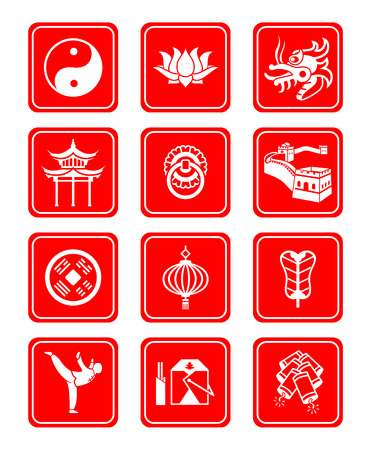 Traditional Chinese culture symbols and objects icon set. Vector
