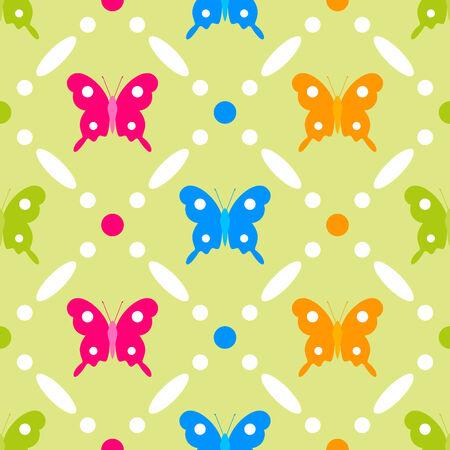 grassy: Stitches seamless butterfly pattern on grassy background