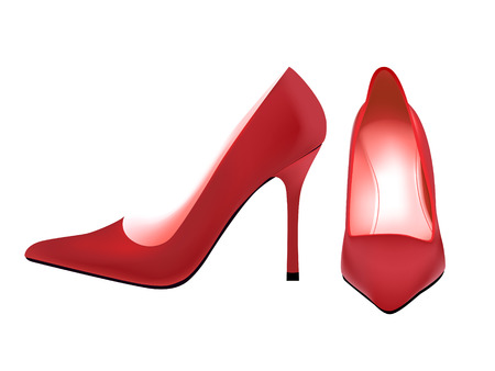 photoreal: Pair of photo-real red woman pump shoes in editable vector