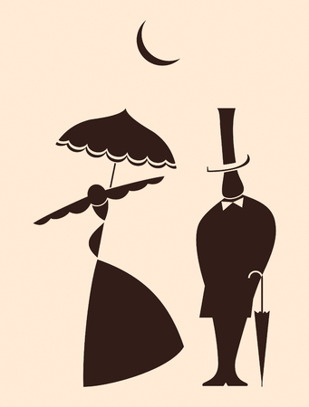 Victorian man and woman dating under moon Vector