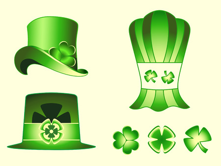 Different types of leprechaun hats and clovers for St.Patrick day Stock Vector - 4333828