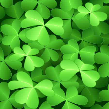 Seamless green clover background for St.Patrick day Vector