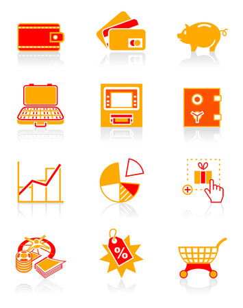 bankomat: All about earning, saving and spending money icon set.