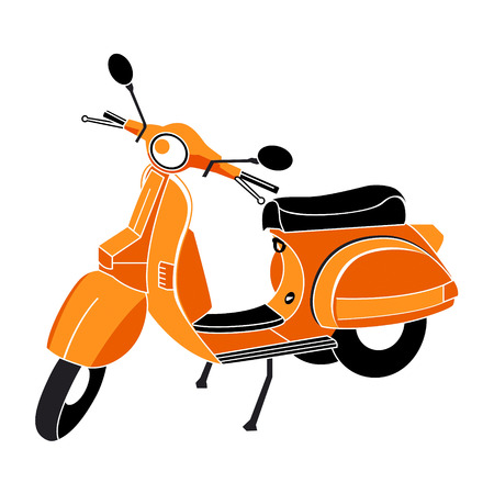 vespa: Classic scooter in red-orange-black colors isolated