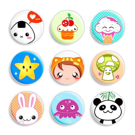 Set of badges with the cute japanese style characters Vector