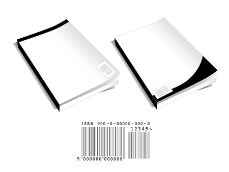 decoding: Two blank book covers with abstract barcode