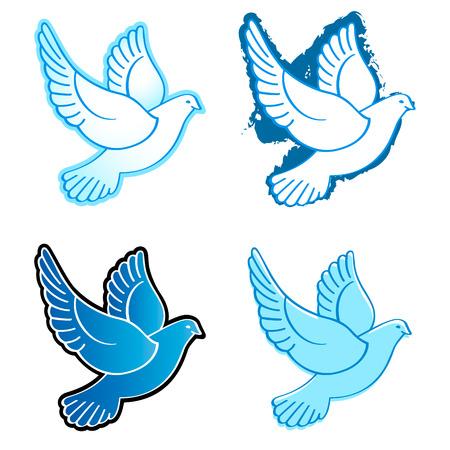 paloma blanca: Cuatro diseños paloma volando en colores azul