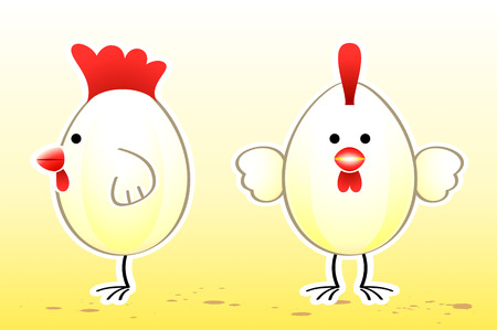 Chicken egg cartoon character in two views