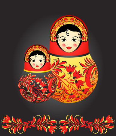 russian girls: Matryoshka dolls with traditional Russian floral pattern over black