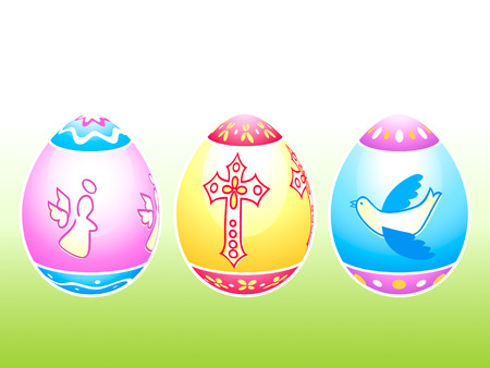 pigeon egg: Colorful Easter eggs decorated by holy symbols