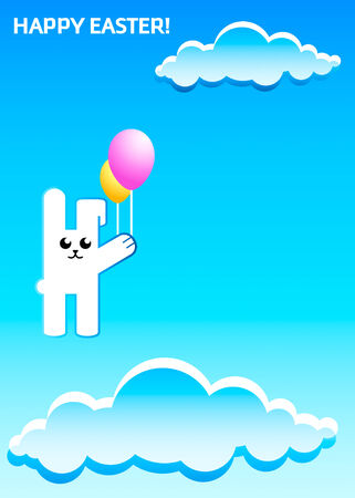 Flying Easter rabbit with balloons at the dreamy sky Vector