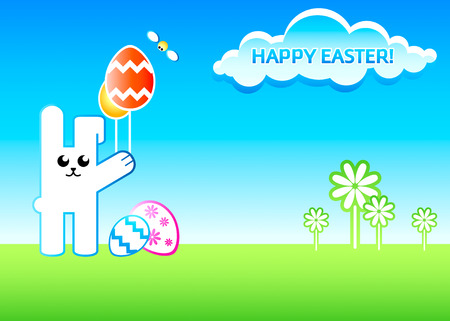 Easter rabbit with egg balloons over dreamy landscape Vector