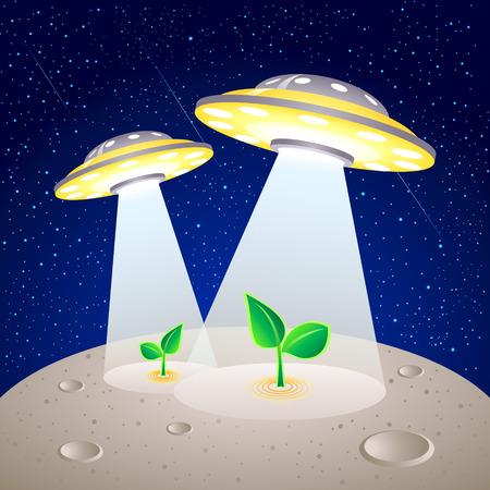 cultivating: OVNI-como el cultivo de plantas en naves de superficie lunar Vectores