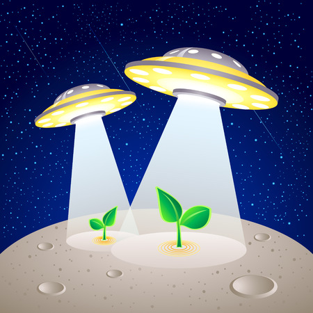 UFO-like spaceships cultivating plants at Moon surface Vector