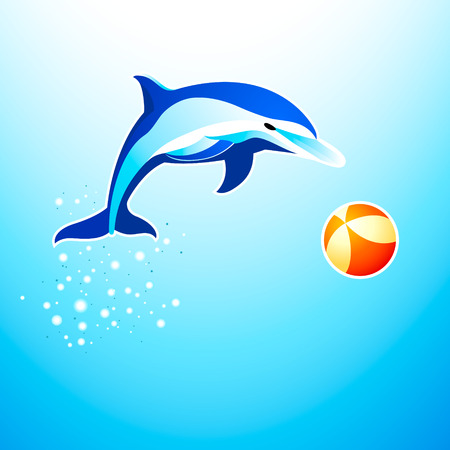 Dolphin playing with the ball Illustration