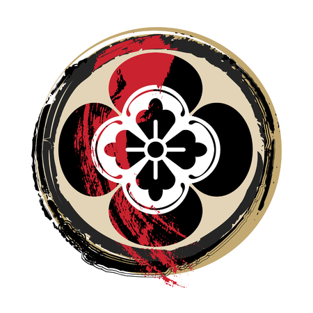 Bloody samurai family crest in grunge style