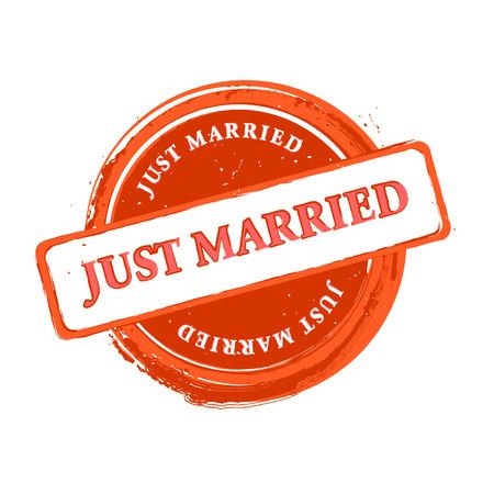 recien casados: Boda grungy sello reci�n casado aislado m�s de blanco