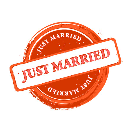 Wedding grungy stamp just married isolated over white Vector