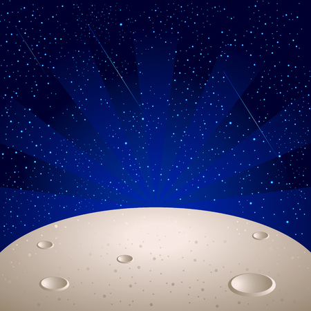crater: Moon surface over bright star space with comets