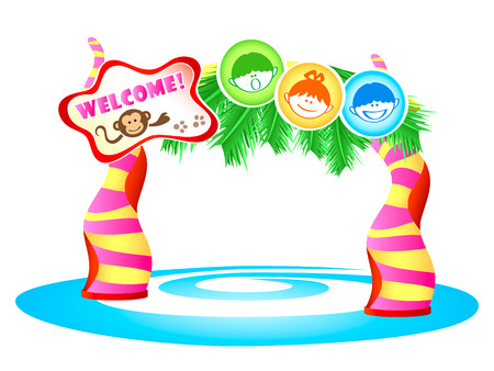 Kids theme park enter in tropical style Vector