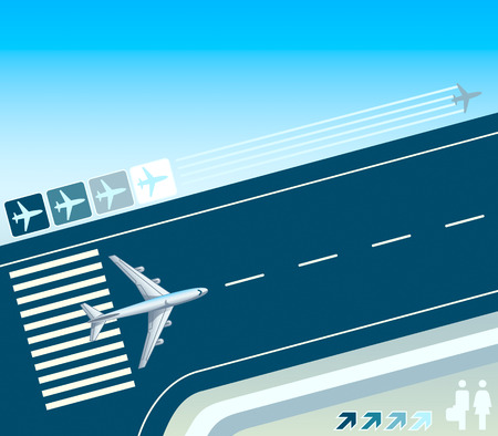 depart: Airplane at the take-off strip concept illustration