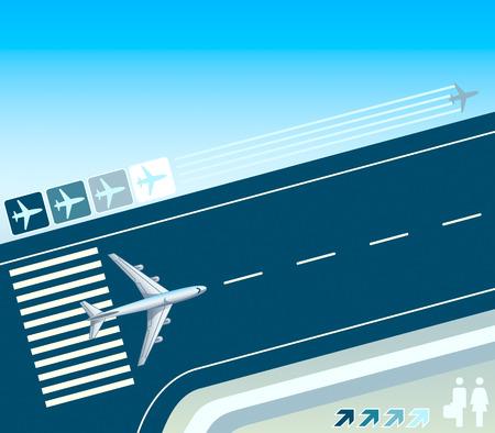 Vliegtuig op de start-strip concept illustratie