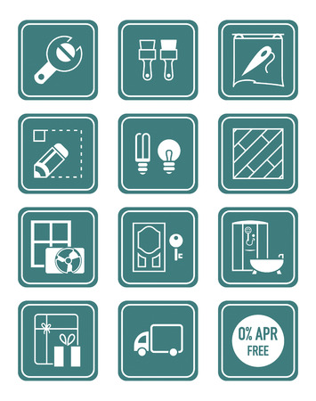 home repair: Home repair, remodelling, redecoration and shop services icon-set