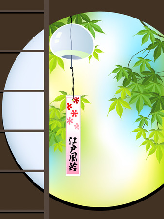 View to summer japanese Momiji (maple) garden with the hanging Furin (wind chime) Vector