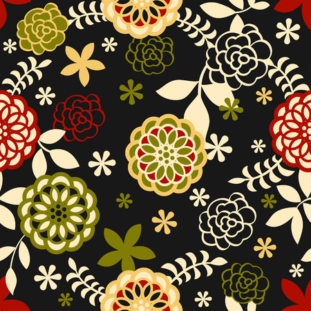 japanese garden: Seamless floral pattern in retro night colors