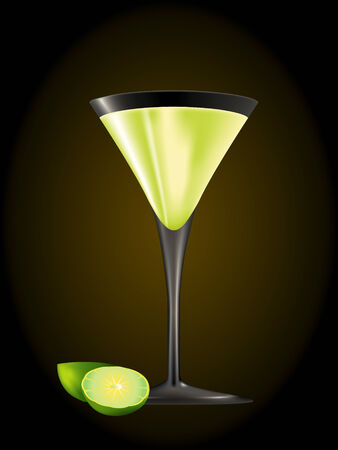 gimlet: Cocktail Gimlet glass with limes isolated over black