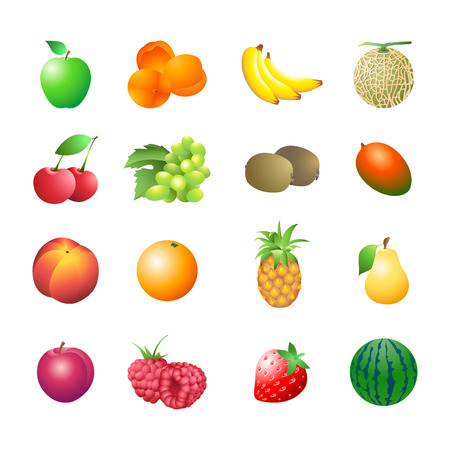 Set of colorful isolated fruits for calorie table illustration Vector