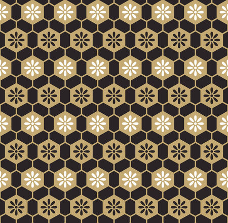 Cells floral pattern in brown-black-white colors Vector