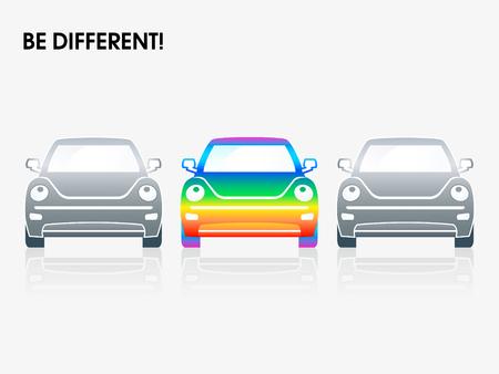 arco iris vector: Arco iris de coches entre los grises | Ser diferentes series Vectores