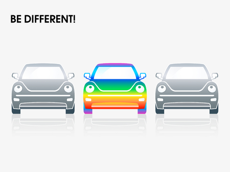 brand new: Rainbow car between gray ones | Be different series