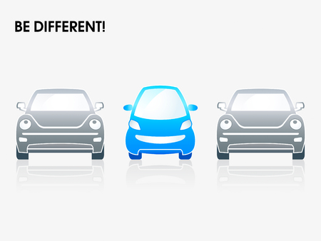 Smiling small car between gray ones | Be different series Stock Vector - 4664311