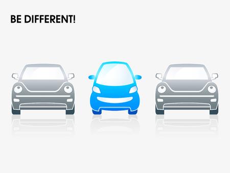 car showroom: Sonriendo autom�vil peque�o de color gris entre los | Ser diferentes series