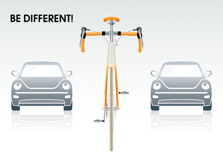bike wheel: Bicycle between gray cars | Be different series