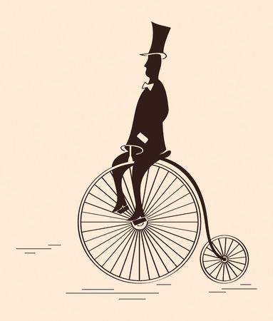Victorian gentleman riding retro big wheel bycicle
