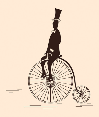 bycicle: Victorian gentleman riding retro big wheel bycicle
