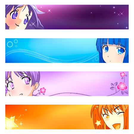 manga girl: Colorful anime banner or sider backgrounds. Base banner size is 120x600. Illustration