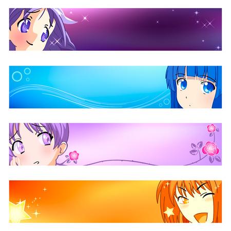 anime: Colorida pancarta o anime ra or�genes. Base de bandera es de tama�o 120x600. Vectores